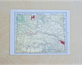 1925 - Wyoming Map - Antique Cram's Atlas Map - Vintage Wyoming Map - Old Atlas Map - Small Antique Map