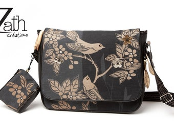 Hobo Crossbody Black birds