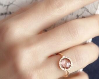 Pink tourmaline engagement ring, Unique engagement ring, Rose Gold Engagement ring, Diamond Engagement ring, Gemstone Engagement Ring, 18K