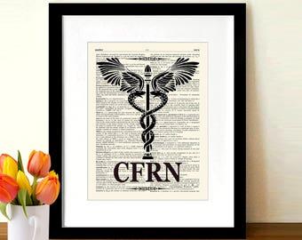 "Certified Flight Registered Nurse - Caduceus - CFRN logo, 8.5""x11, Medical print, Registered Nurse Gift, Medical Art Decor, Flight Medic"