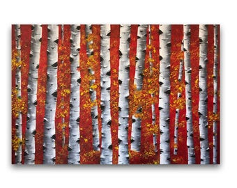 Birch tree painting, birch trees art, abstract landscape, aspen tree painting, large abstract painting, living room wall decor