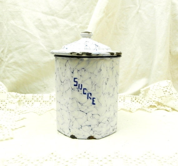 Antique French Chippy White and Blue Marbled Enamel Sugar Canister, Enamelware Kitchen Decor from France, Retro Brocante Country Cottage
