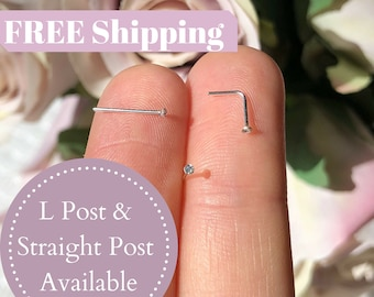 20g Sterling Silver Nose Stud Nose Ring Flat Top Nose Ring Stud Silver CZ Diamond Nose Stud Micro Nose Stud Nostril Tiny Nose Stud Small