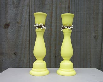 Taper Candle Holders, Yellow, Ivory Pip Berries, Rustic, Primitive, Candle Sticks, Pair, Set of Two, Cottage Chic, Painted Wood, Home Decor