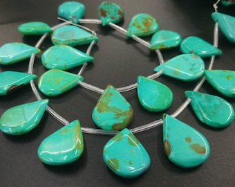 Teal Blue Turquoise,Tibetan Turquoise Blue Howlite,Flat Briolette,top drilled Flat TearDrop beads 18x25mm- 21pcs/strand