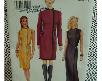 Wrap Dress Pattern, Straight, Semi-fitted, Raised Neck, Sleeveless/Cap/Long Sleeves, Ties, Vogue No.7311 UNCUT Size 8 10 12
