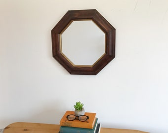 Mid Century Small Octagon Solid Wood Mirror - Danish Modern - Accent - Dark Wood with Painted Golden Brass Accent - Geometric - Minimal