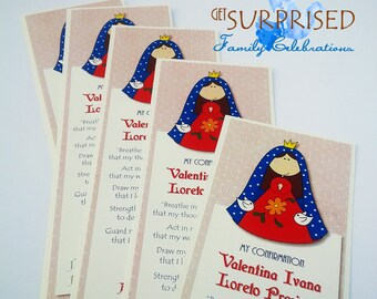 12 GIRLS CONFIRMATION BOOKMARKS. Holy Mary remembrance cards, religious announcement for First Communion, Christening, Baptism, keepsake