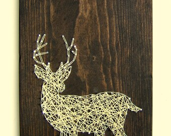White Tailed Deer Silhouette - Modern String Art Tablet