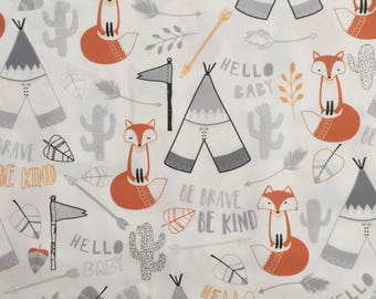 custom baby blanket ~  gray/orange brave fox ~ chic couture ~ baby accessories ~ custom made baby blanket from lillybelle designs