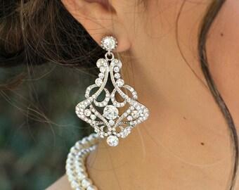 Bridal Stud Earrings Chandelier Rhinestone Statement crystal Bridal Earrings Rhinestone Stud Earrings Wedding Rhinestone Earrings ALEXA