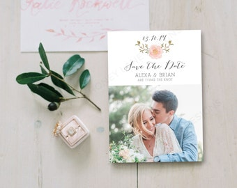 Personalised Printable Card, Save the Date Card, Alexa Collection, PDF