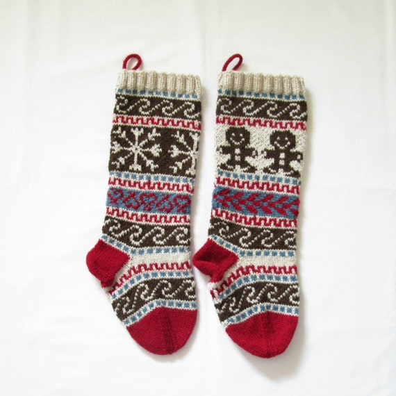 Pattern Fair Isle Christmas Stockings Gingerbread Man And Snowflake