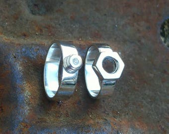 Nut and Bolt Wedding Bands Sterling Silver