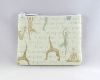Yoga Poses Green Coin Purse - Coin Bag - Pouch - Accessory - Gift Card Holder