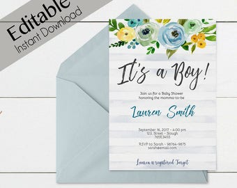 Baby Shower Invitation, Editable PDF, Baby Shower Boy, Baby Boy, Editable Invitation Boy, Editable baby shower template