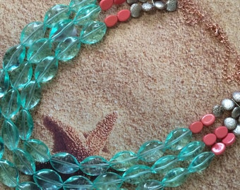 Aqua & Coral Triple-Strand Necklace