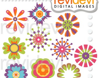 Spring clipart flowers clip art / Decorative flowers digital images, commercial use, instant download / spring flower clipart sale