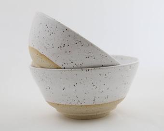 White Speckled Stoneware Bowls