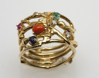 Abstract Eco-Ring - in Recycled 18K Gold