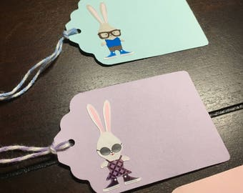 Bunny tags, rabbit tags, Hipster Bunny Goodie Bag Tags, Custom Printed Bunnies Tags, favor tags, Rabbit Gift Tags, class Party Name -8/order