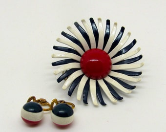 Vintage Red, White, and Blue Earrings and Pin