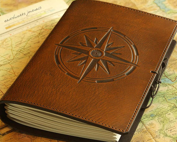 New A5 Medium Leather Bound Journal Compass Rose Travel IG53
