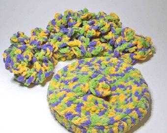20% OFF SALE Eternity Scarf  Beret slouch hat Bulky Loop OOAK crochet allergy free poly yarn baby soft purple, warm yellow, green