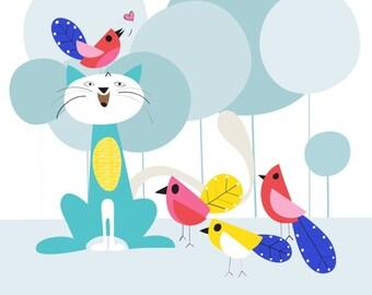 Cat & bird nursery art print - Birdies - Nursery Art, Girl Nursery Decor, Kid Wall Art, baby nursery decor, nursery wall art, playroom decor