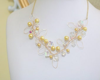 SUNSET Pearl and Crystal Berry Necklace, Bridal Necklace, Statement Necklace, Pearl Necklace, Bridesmaid, Weddings, Vine Necklace, Branch