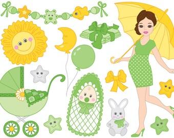 Baby Clipart - Digital Vector Baby Boy, Baby Boy, Baby Shower, Pregnancy Clip Art