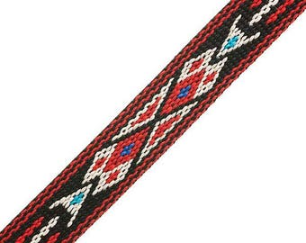 "3/4"" Woven Hitched Webbing Trim - Black/Red - 5 Feet"