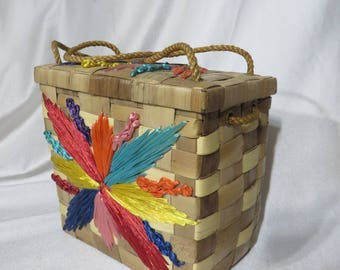 Vintage 50s Wicker Handbag Purse Novelty Basket Large Rockabilly Atomic Flower Burst Summer Beach