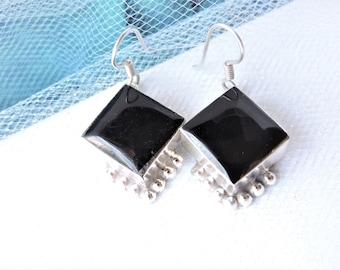 Black Onyx Sterling Silver Earrings Pierced