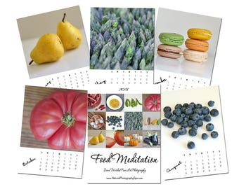 2018 Photo Calendar, food calendar 2018 desk calendar 5x7, with easel kitchen gift, foodie cooking culinary mother gift, fruit vegetables