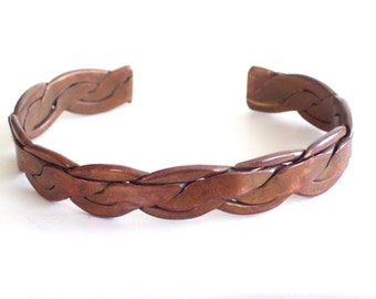 Copper Cuff Bracelet, Vintage Copper Cuff, Copper Bracelet, Chunky Vintage Copper Braid Cuff Bracelet, Twist Braid Cuff, The Copper Cat