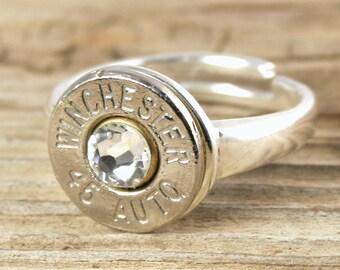 Bullet Ring / Custom Sterling Silver Adjustable Bullet Ring WIN-#-N/B-SSAR / Custom Bullet Ring / Winchester Bullet Ring / Winchester Ring