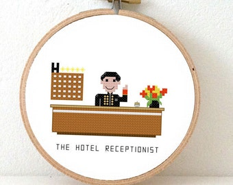 2 x Hotel Receptionist cross stitch pattern. Male and Female receptionist. DIY hotel decoration. Modern professions embroidery designs