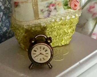 Miniature Alarm Clock, Style 02, Dollhouse Miniature, 1:12 Scale, Dollhouse Accessory, Decor, Mini Antique Style Wind Up Alarm Clock