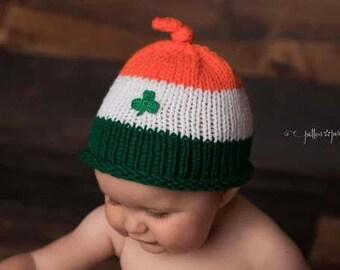 Baby Shamrock Hat, Knitted Baby Hat, St. Patrick's Day, Leprechaun, Irish, Ireland, Saint Patrick's Day, Irish Baby, Baby Hat, Shamrock Hat
