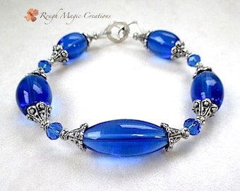 Sapphire Blue Bracelet, Cobalt Glass, Long Barrel Beads, Faceted Crystal, Antiqued Silver Accent, Sterling Toggle Clasp, Gift for Women B236