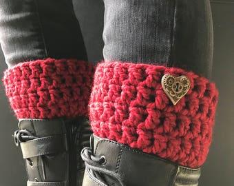 Crochet Boot Cuffs Red w/ Steampunk Heart Button