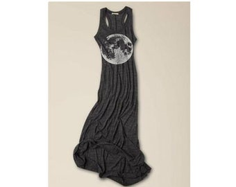 Womens Boho FULL MOON Bohemian Alternative Apparel Tank Top Dress screenprint maxi beach coverup S M L XL More colors