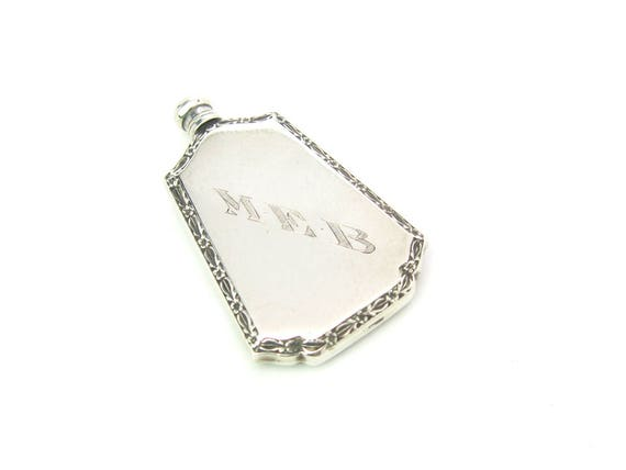 Vintage Art Deco Webster Co. Sterling Silver Perfume Bottle Mini Flask w/ Dopper, 1920's