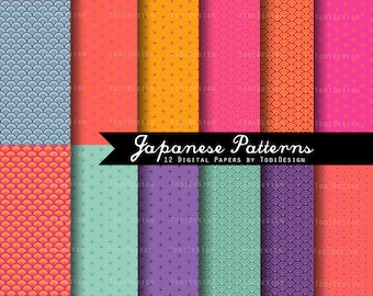 Japanese Patterns  INSTANT DOWNLOAD Japanese Origami Papers Digital Paper Set