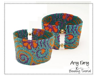Flat 2 drop Peyote Cuff Charted design Beading Pattern and Instructions Delica Bead Jewelry Tutorial  Bead and word Chart pattern ARTY FARTY
