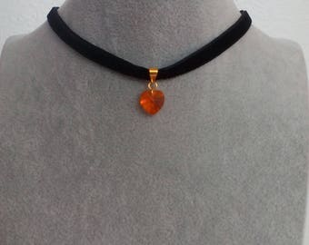 Chocker on tape with heart type Swarovski, zippers in gold filled