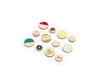 Dear Lizzy Documentary Wood Buttons  -- MSRP 4.00