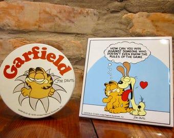 Vintage Garfield Collectibles • 80s Garfield Tin • 80s Garfield Plaque Tile • Vintage Garfield Round Metal Tin • Garfield Odie Wall Hanging