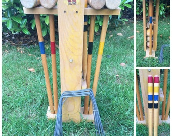 Vintage South Bend Complete 4 Player Croquet  Set, Original Box With Instructions, Retro Lawn Game.